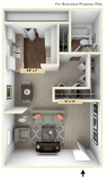 Hampton Studio Floor Plan at Windsor Place, Davison, MI, 48423