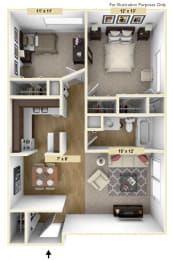 Roseland Two Bedroom Floor Plan at Windsor Place, Michigan, 48423