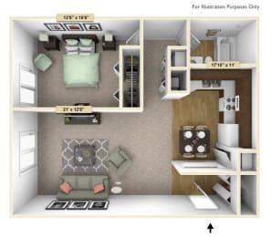 Crescent - One Bedroom One Bath Floor Plan at Grand Bend Club, Grand Blanc, Michigan