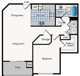 Floor plan A2, 909 West Apartment Homes, Floor plan, 909 West Grove Pkwy, AZ, opens a dialog