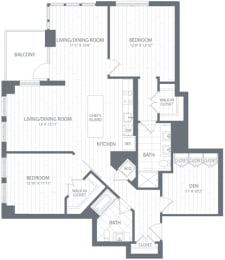 B2 Floor Plan at Element 28, Bethesda, MD, 20814