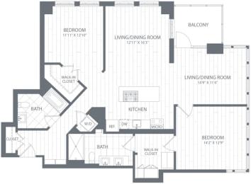 B3 Floor Plan at Element 28, Maryland, 20814