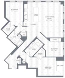C1 Floor Plan at Element 28, Bethesda, Maryland