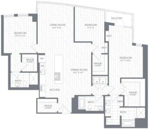 C3 Floor Plan at Element 28, Bethesda, MD