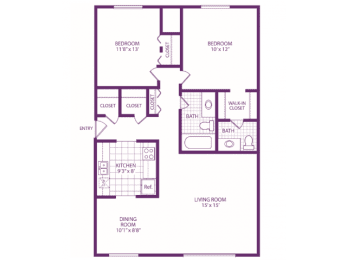 Floor Plan Two Bedroom 1.5 Bath, opens a dialog