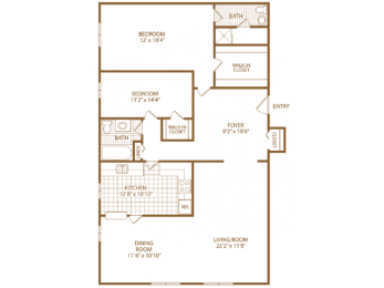 Floor Plan Two Bed 1.5 Bath