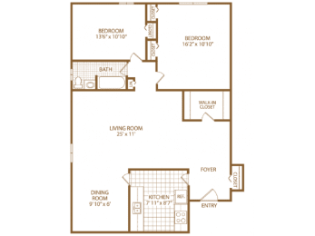 Floor Plan Two Bed One Bath