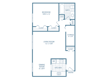 Floor Plan One Bed One Bath