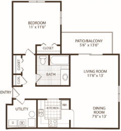 Floor Plan 1 Bedroom / 1 Bath, opens a dialog