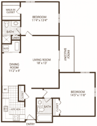Floor Plan 2 Bedroom / 2 Bath (Price is Per Bed), opens a dialog