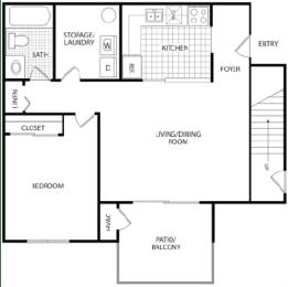 Floor Plan 1 BR/1 Bath