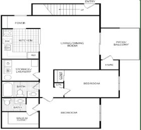 Floor Plan 2 BR/1.5 Bath