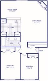 Floor Plan 2 bed 1 bath Reno