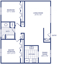 Floor Plan Two Bedroom, opens a dialog