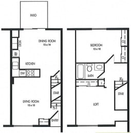 One Bed Townhome Floor Plan at Arbor Pointe Townhomes, Battle Creek, MI