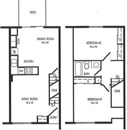 Two Bed Room Floor Plan at Arbor Pointe Townhomes, Michigan, 49037-2040