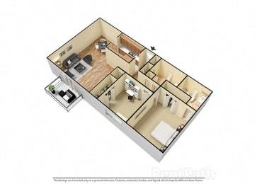 2 Bed 2 Bath West Phase Floor Plan at Candlewyck Apartments, Michigan