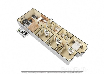 4 Bed 2 Bath attractive Floor Plan at Candlewyck Apartments, Kalamazoo, 49001