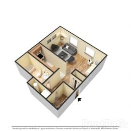 Attractive Studio Floor Plan at Hamilton Square Apartments, Westfield, Indiana