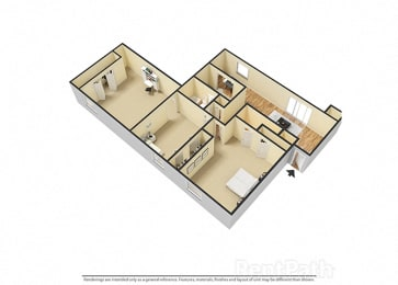 3 BR, 2 Bath Floor Plan 3D View at Pickwick Farms Apartments, Indiana