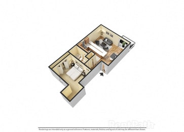 1 Bedroom, 1 Bathroom 3D View Floor Plan at Sandstone Court Apartments, Greenwood, IN, 46142