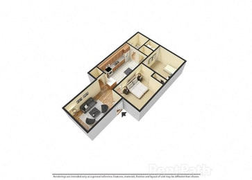 2 Bedroom, 1 Bathroom 3D Floor plan at Sandstone Court Apartments, Greenwood, IN