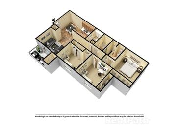 Three Bedroom 3D View Floor Plan at Walnut Creek Apartments, Kokomo, IN