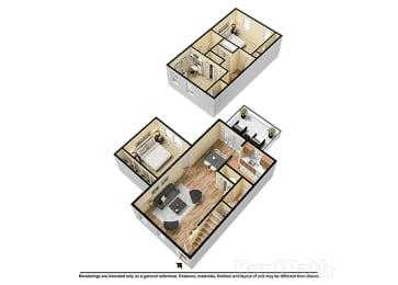 Three Bedroom Town 3D Floor Plan at Walnut Creek Apartments, Kokomo, IN
