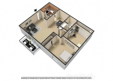 2 Bedroom 1 Bath 3D Floor Plan at Waterstone Place Apartments, Indiana, 46229
