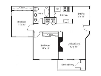 2 x 1 Floorplan at Riverwalk at Happy Valley, Happy Valley OR