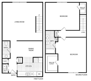 Floor Plan 2 Bed 1.5 Bath - WB-2B Townhome, opens a dialog