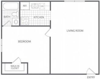 Floor Plan 1 Bed 1 Bath - HC-B, opens a dialog