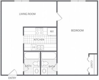Floor Plan 1 Bed 2 Bath - HC-C, opens a dialog