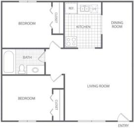 Floor Plan 2 Bed 1 Bath - HC-D, opens a dialog