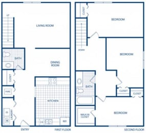 Floor Plan 3 Bed 1.5 Bath WB-3B Townhome, opens a dialog