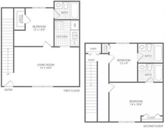Floor Plan 3 Bed 3 Bath - HC-F Townhome, opens a dialog