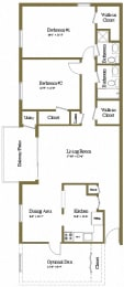 Floor Plan 2 Bedrooms 2 Bath, opens a dialog