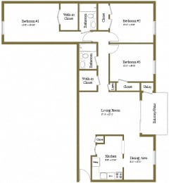 3 bedroom 2 bathroom with den floor plan at Painters Mill Apartments