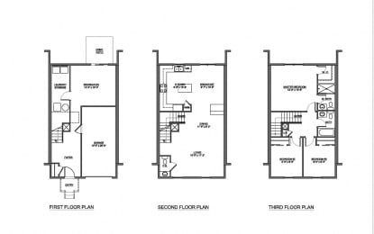 3 bedroom 2.5 bathroom with garage floor plan at The Pointe at Manorgreen in Middle River, MD