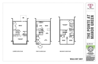 3 bedroom 2.5 bathroom with walkout floor plan at The Pointe at Manorgreen