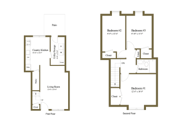 3 bedroom 1 bathroom inside unit at Somerset Woods Townhomes in