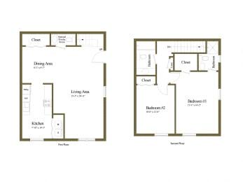 Floor Plan 2 Bedroom 2.5 Bath, opens a dialog