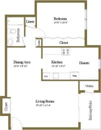 Studio 1 bedroom 1 bathroom floor plan at Woodridge Apartments in Randallstown, Maryland