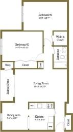 2 bedroom 1 bathroom floor plan at Woodridge Apartments in Randallstown, Maryland
