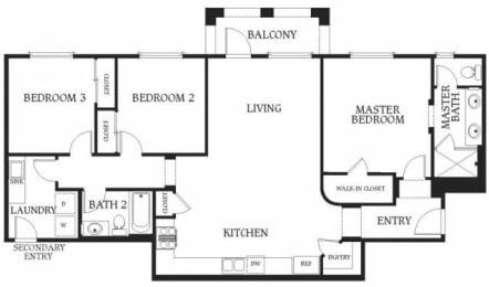 3 x 2b Floorplan at Union Place Apartments,  California, 92870