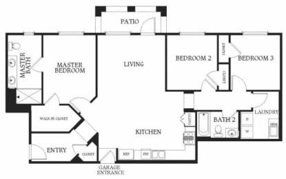 3 x 2d Floorplan at Union Place Apartments, 1500 Cherry St. Suite 5106A, CA
