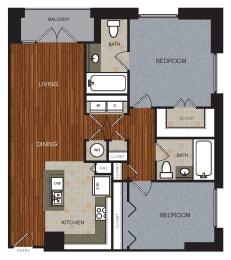 D2 Floor Plan at Berkshire Riverview, Texas, 78741