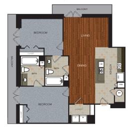 D8 Floor Plan at Berkshire Riverview, Austin, 78741