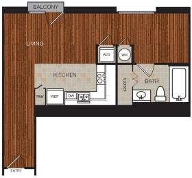 Studio 4 Floor Plan at Berkshire Riverview, Austin, Texas