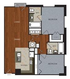 D4 Floor Plan at Berkshire Riverview, Austin, TX